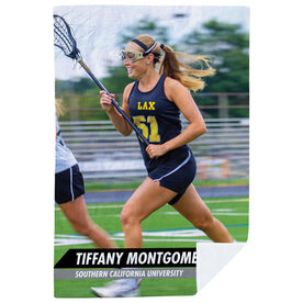 Girls Lacrosse Premium Blanket - Custom Lacrosse Player Photo