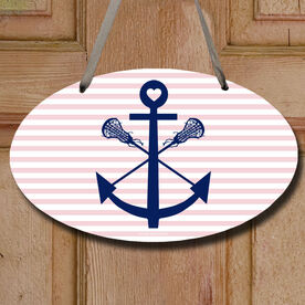 Lacrosse Sticks Anchor Decorative Oval Sign