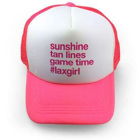 Girls Lacrosse Trucker Hat - Sunshine Tan Lines Game Time