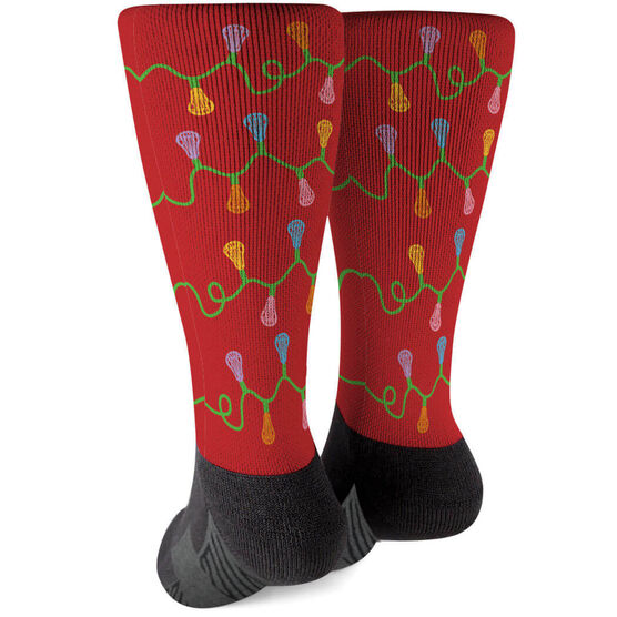 Girls Lacrosse Printed Mid-Calf Socks - Lacrosse Stick Christmas Lights