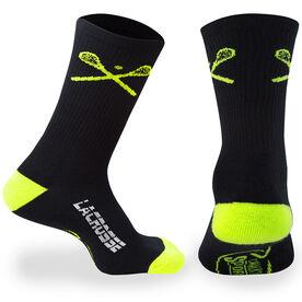 Lacrosse Woven Mid-Calf Socks - Crossed Sticks (Black/Yellow)