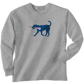 Girls Lacrosse Long Sleeve T-Shirt - LuLa The Lax Dog (Blue)
