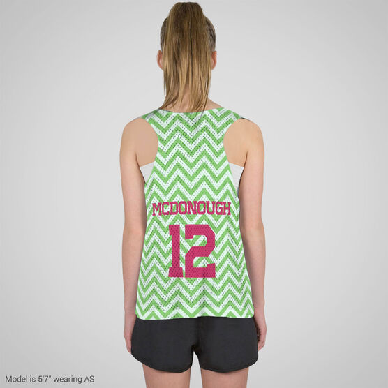 Girls Lacrosse Racerback Pinnie - Single Letter Monogram with Crossed Sticks and Chevron
