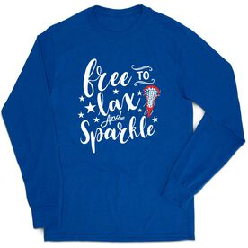 Girls Lacrosse Tshirt Long Sleeve - Free To Lax And Sparkle