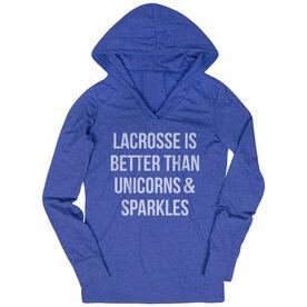 Girls Lacrosse Lightweight Performance Hoodie - Lacrosse is better than Unicorns