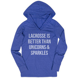 Girls Lacrosse Lightweight Performance Hoodie - Lacrosse is better than Unicorns
