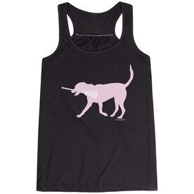 Girls Lacrosse Flowy Racerback Tank Top - LuLa the LAX Dog (Pink)
