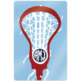 "Girls Lacrosse 18"" X 12"" Aluminum Room Sign Monogrammed Lax is Life"