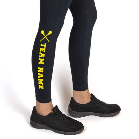 Lacrosse Leggings Team Name with Lacrosse Sticks