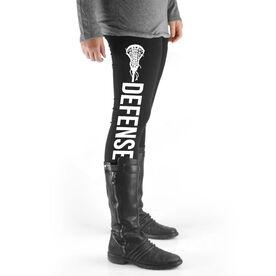 Girls Lacrosse High Print Leggings - Defense