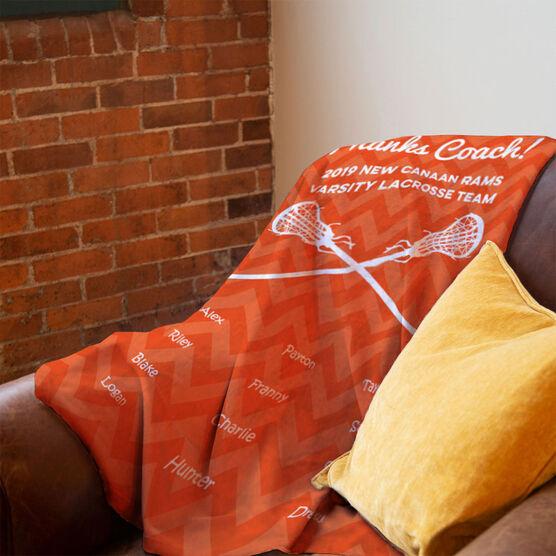 Girls Lacrosse Premium Blanket - Personalized Thanks Coach Chevron