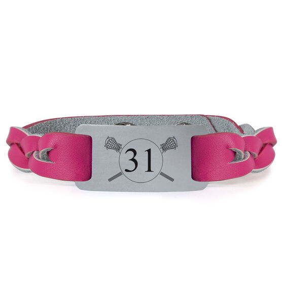 Lacrosse Leather Bracelet with Engraved Plate - Number with Crossed Sticks