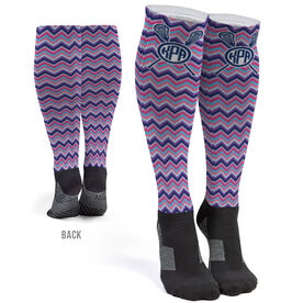 Girls Lacrosse Printed Knee-High Socks - Monogram with Chevron