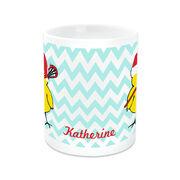 Girls Lacrosse Coffee Mug Lacrosse Chick with Santa Hat