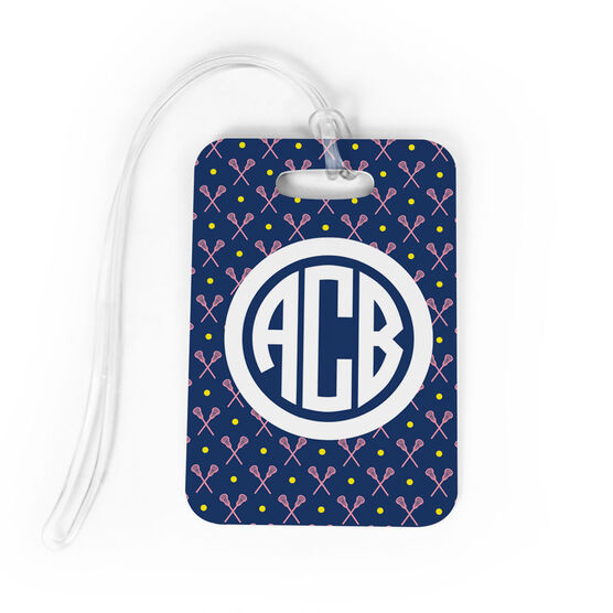 Girls Lacrosse Bag/Luggage Tag - Personalized Girls Lacrosse Pattern Monogram