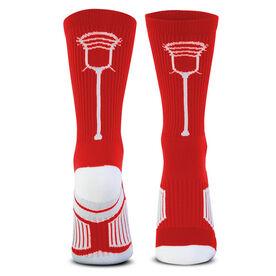 Lacrosse Woven Mid-Calf Socks - Single Stick (Red/White)