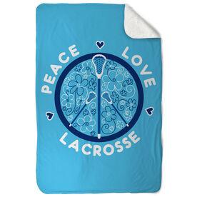 Girls Lacrosse Sherpa Fleece Blanket Peace Love Lacrosse Flowers