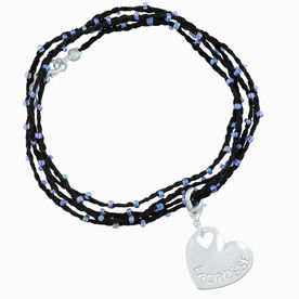 Girls Lacrosse Beaded Wrap Bracelet - Lacrosse Sport Heart