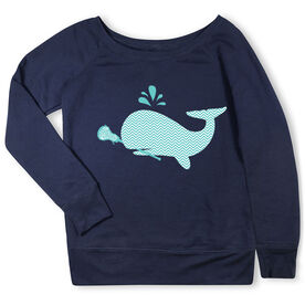 Girls Lacrosse Fleece Wide Neck Sweatshirt - Chevron Lax Whale
