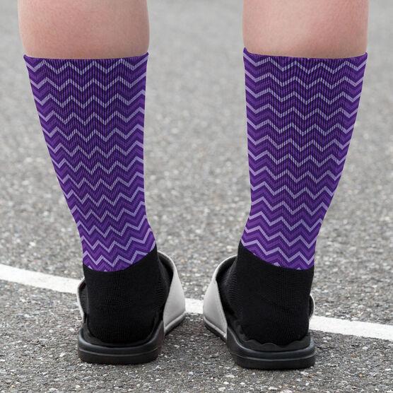 Girls Lacrosse Printed Mid-Calf Socks - Monogram with Crossed Sticks and Chevron Pattern