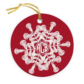 Girls Lacrosse Porcelain Ornament Monogrammed Lacrosse Snowflake
