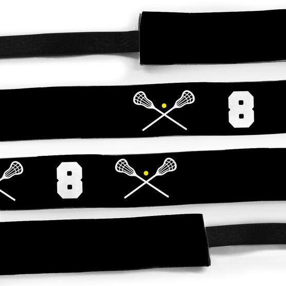 Girls Lacrosse Julibands No-Slip Headbands - Crossed Sticks and Number