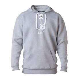 "Lacrosse Players Only Sweatshirt - ""Lax"" Girl (Stick Figure-w/word)"