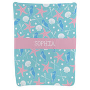 Girls Lacrosse Baby Blanket - Starfish and Shells