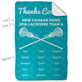 Girls Lacrosse Sherpa Fleece Blanket - Personalized Thanks Coach Chevron