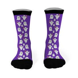 Girls Lacrosse Printed Mid Calf Socks - Ghosts with Lacrosse Sticks