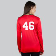 Girls Lacrosse Long Sleeve Performance Tee - My Goal Is To Deny Yours Goalie Stick