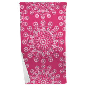 Girls Lacrosse Beach Towel Lax Mandala