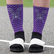 Girls Lacrosse Printed Mid-Calf Socks - Monogram with Crossed Sticks and Chevron Pattern