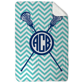 Girls Lacrosse Sherpa Fleece Blanket - Monogram with Crossed Sticks and Chevron