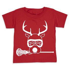 Girls Lacrosse Toddler Short Sleeve Tee - Lax Girl Reindeer