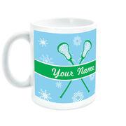 Girls Lacrosse Coffee Mug Personalized Winter Wonderland