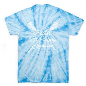 Girls Lacrosse Short Sleeve T-Shirt - Rather Be Playing Lacrosse Tie Dye