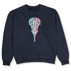 Girls Lacrosse Crew Neck Sweatshirt - Lacrosse Stick Heart