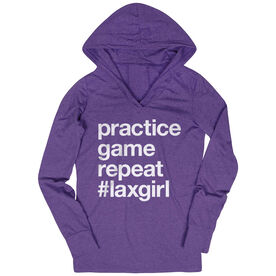 Girls Lacrosse Lightweight Performance Hoodie - Practice Game Repeat