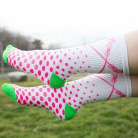 Girls Lacrosse Woven Mid Calf Socks - Sundae (White/Pink/Green)