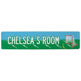 "Girls Lacrosse Aluminum Room Sign - Personalized Lacrosse Room Girl (4""x18"")"