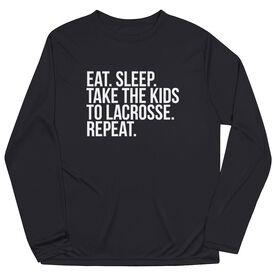 Lacrosse Long Sleeve Performance Tee - Eat Sleep Take The Kids To Lacrosse