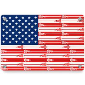 Girls Lacrosse Metal Wall Art Panel - USA Stick Flag (Girls Sticks)