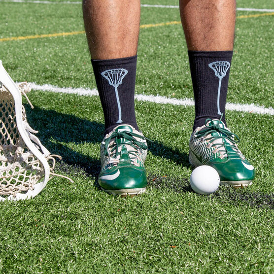 Lacrosse Woven Mid-Calf Socks - Single Stick (Black/Carolina Blue)