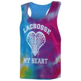 Girls Lacrosse Racerback Pinnie - Lacrosse My Heart Rainbow