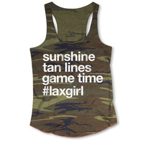 Girls Lacrosse Camouflage Racerback Tank Top - Sunshine Tan Lines Game Time