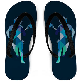 Girls Lacrosse Flip Flops Geometric Lax Girl