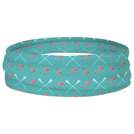 Girls Lacrosse Multifunctional Headwear - Flamingos and Crossed Sticks RokBAND