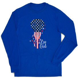 Girls Lacrosse Tshirt Long Sleeve - Patriotic Lax Girl