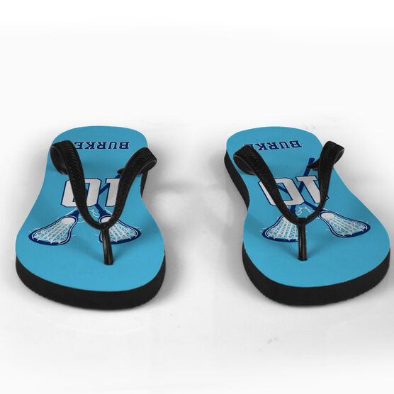 Girls Lacrosse Flip Flops Personalized Lacrosse Player with Crossed Sticks